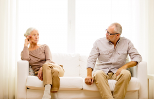 Image of a senior couple planning a divorce