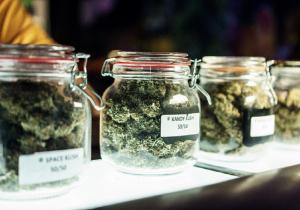 Image of jars in a marijuana dispensary