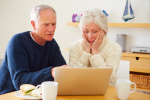 Image of a concerned senior couple