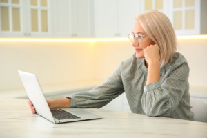 Image of a businesswoman doing research