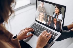 Image of a woman using videoconferencing software