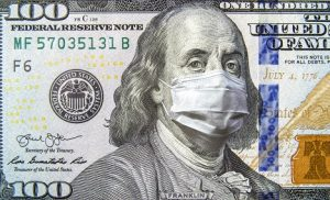 Image of a dollar bill with a mask superimposed on the image of Ben Franklin