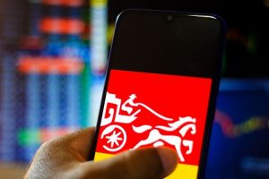 Image of the Wells Fargo logo displayed on a smartphone screen