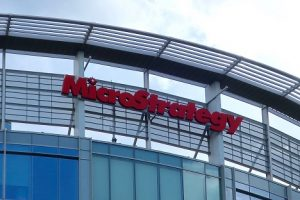 Image of a sign above the MicroStrategy headquarters in Virginia