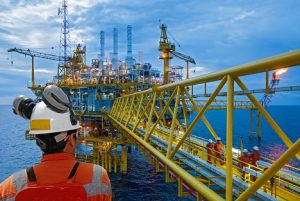 Image of a worker at an offshore oil rig